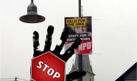 Stop NPD Sinti Roma Plakat