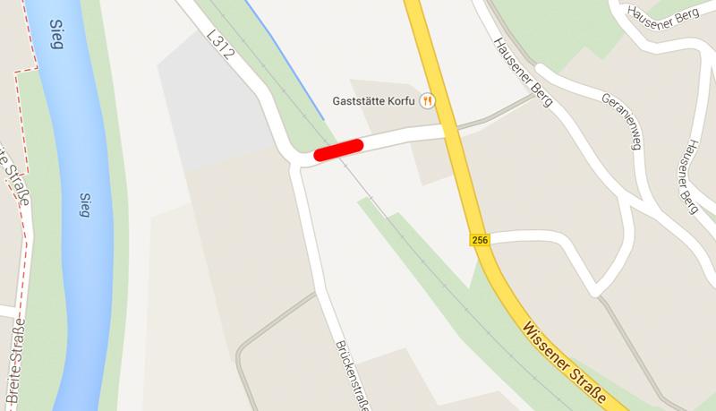 Sperrung Bahnübergang Imhausen - Bild: Google Maps