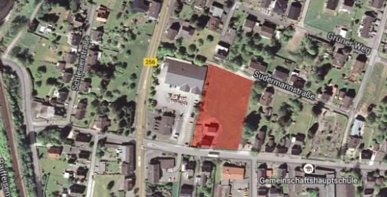Ausgewiesene Fläche für neues Fachmarktzentrum - Bild: Google Maps