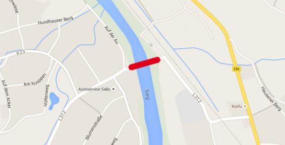 Sperrung Siegbrücke Imhausen - Quelle: Google Maps