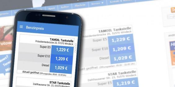Benzinpreise App und Page