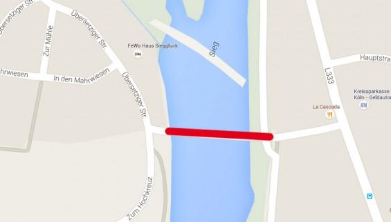 Brückensperrung Dattenfeld - Übersetzig / Quelle: Google Maps