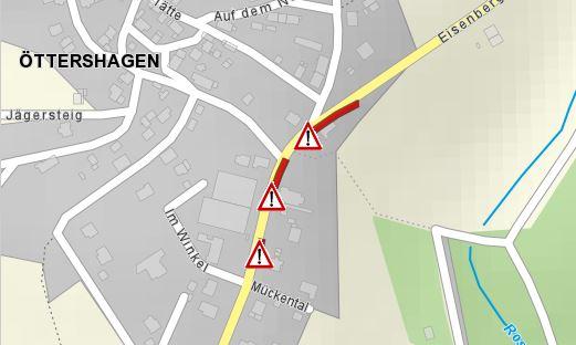 Bauarbeiten auf der K 32 in Öttershagen - Bild: OpenStreetMap
