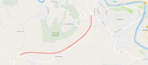 Vollsperrung der K 7 zwischen Leuscheid und Lindenpütz - Bild: Google Maps