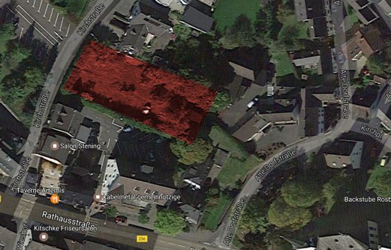 Fläche des geplanten Wohn- und Ärztehauses - Bild: Google Maps